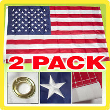 2 PACK 4x6 FT USA US AMERICAN NYLON EMBROIDERED STARS SEWN STRIPES DELUXE Flag