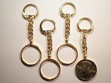 1 Gold Plated U.S. Half Dollar Coin Holder Key Chain with 1 Kennedy Half Dollar
