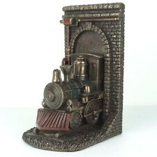 "Steampunk Locomotive Out of Tunnel Bookend Bronze Figurine Miniature 7.75""H New"