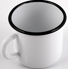 "White w/ Black Enamel Mug, Cup, 3"" tall (0.4 L) Enamelware Mug Made in Russia"