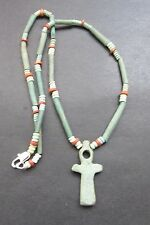 NILE  Ancient Egyptian Faience Ankh Amulet Mummy Bead Necklace ca 600 BC