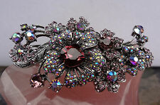 "Kirks Folly ""Twilight Crystal Barrette""Hair Jewelry-Antique Silvertone-Berry"