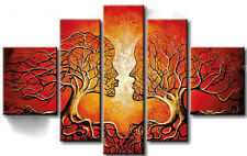 Big Ready to Hang 5 Piece Modern Art Hand Painting Canvas Red Wall Framed