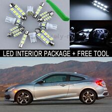 White LED Interior Package Map Light Bulb 10X Kit For  2016 Honda Civic + Tool J