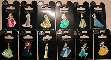 Disney Princess Glitter Dress 12 Pin Lot ELSA ANNA ARIEL BELLE TANGLED BRAVE