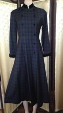Laura Ashley vintage blackwatch tartan plaid long dress riding coat wool velvet