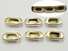 50 Gold Tone Metallic Acrylic Oval Slider Charms 20X10mm Fit 8mm Wristband​s