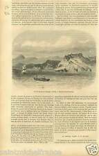 Harbor Port Santiago de Cuba Théatre Tacon GRAVURE ANTIQUE OLD PRINT 1858