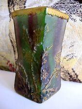 Daum Nancy ancien petit vase quadrangulaire évasé en pate de verre vers 1900