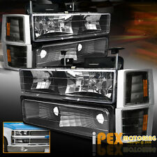 1994-1998 Chevy Silverado Tahoe [8PC  Black] Headlight + Signal + Bumper Light
