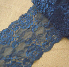 "7"" Wide Lovely Floral Stretch Lace Navy y0394"