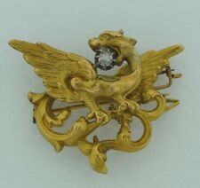 Beautiful Antique French Marked 18k Gold and Diamond Griffin Diamond Brooch Pin