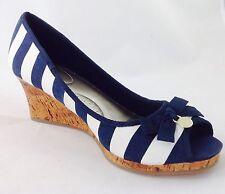 Large Size Ladies Men's Blue/White Stripe Wedge Sandals size UK 10 W PLUS SIZE