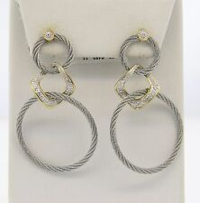 Charriol Classique 18K Gold Stainless Steel Diamond Triple Drop Earrings $1995