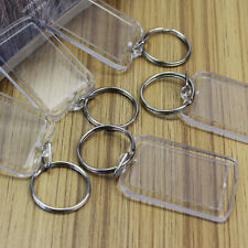 Lot 80 Transparent Blank Keyrings Insert Photo Picture Frame Split Ring Keychain