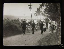 Glass Magic Lantern Slide A RELIGIOUS PROCESSION C1920 PROBABLY CLOSE OF DINAN