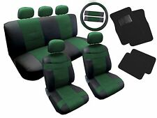 18PC Synth Leather Black Green Car Seat Covers Steering Wheel Floor Mats HS9