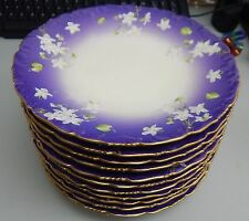 Set of 12 T & V Limoges Handpainted Plates - Purple White Flowers Gold Trim