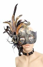 Feather Venetian Rose Masquerade Costume Prom Party  Gold Lace eye Mask