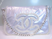 CHANEL ARCTIC POLAR ICE WHITE FUR VINYL METALLIC SILVER ROCK ACCORDION FLAP BAG
