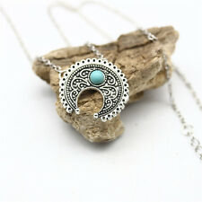 SPECIAL HIPPIE BOHEMIAN SILVER TURQUOISE VINTAGE NECKLACE ETHNIC TOTEM JEWELRY