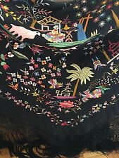 Art Deco Manton de Manila Embroidered Silk Piano Shawl