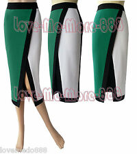 Womens Colorblock High Split PARTY Wear Work Casual Pencil Midi SkirtS Dress 4XL