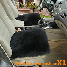 Real BLACK Sheepskin Long Wool Front Car Seat Covers Cover Universal Fit 1PCS