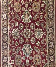 Amazing Agra - Indian Floral Rug - Red and Black Oriental Carpet - 2.7 x 17.8 ft