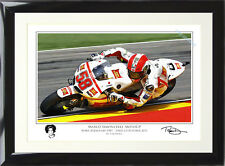 FRAMED Marco Simoncelli Signed by Artist MotoGP Art Print Memorial Edition Rossi