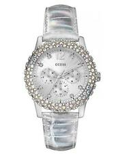 GUESS W0336L1 Women's Silver Leather Strap Swarovski Crystal Watch