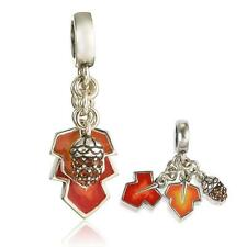 925 Sterling Silver 3D Acorn Autumn Leaves Nature Bracelet Charm Bead Gift W138