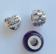 SET OF 3 STERLING SILVER SISTER CHARM SPACER SET RHONA SUTTON