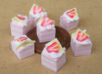 1:12 Seven Loose Strawberry Slices Dolls House Miniature Cake Accessory PL69