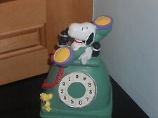 "PEANUTS-SNOPY/WOODSTOCK BANK- GREEN ROTARY PHONE-RESIN-COLORFUL-6""T-NEW"
