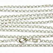 Sterling Silver Necklace Link Chain Solid 925 1mm 92.5 Italian Round Rolo 18''