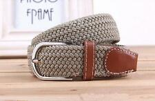 Pop Mens Woven Stretch Braided Elastic Leather Buckle Belt Womens Waistband - CB