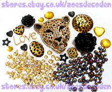 DIY Mobile cell Phone Case gold leopard metal flat back cabochon Deco Den Kit