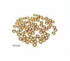 100 x 4mm CLOSED JUMP RINGS GOLD PLATED GOOD QUALITY & FIRM .8mm Gauge