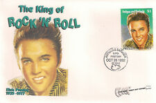 ELVIS PRESLEY - FIRST DAY COVER 016 THE KING OF ROCK AND ROLL STAMPED IN ANTIGUA