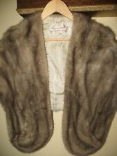 Fur Salon Eaton of Canada Sapphire Grey Silver Mink Fur Stole Shawl Medium Large