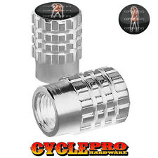 2 Silver Billet Knurled Tire Valve Cap Motorcycle - TATTOO GIRL - 033