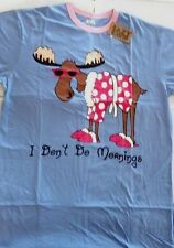 Lazy One Nightshirt Womans Nightgown Sleepwear I Don't Do Mornings Moose Plus