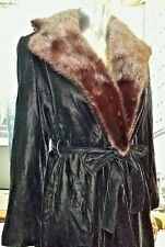 RARE VINTAGE POSH BY JAY ANDERSON BLACK VELVET BELTED MINK COLLAR COAT