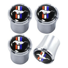 Ford Mustang Chrome &  Tribar Pony Running Horse Logo Valve Stem Caps