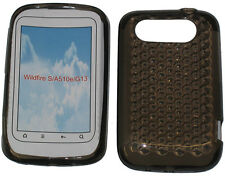 For HTC Wildfire S A510e G13 Pattern Soft Gel Jelly Case Protector Cover Black