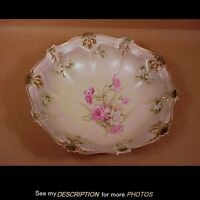 """Antique 10"""" RS Prussia Bowl Mold 332 Foral Carnation Decoration Red Mark"""