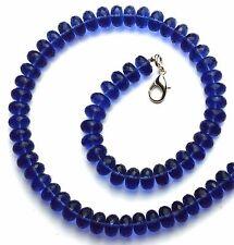 """Deep Blue Tanzanite Gem Color Hydro Quartz Facet 10MM Rondelle Beads Necklace17"""""""