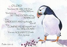 PSALM 139 PINK PUFFIN bible scripture mounted painting watercolour print R NOLAN