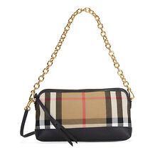 Burberry House Check and Leather Clutch Bag - Black